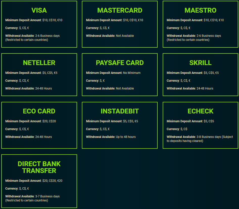 Gaming Club payment methods