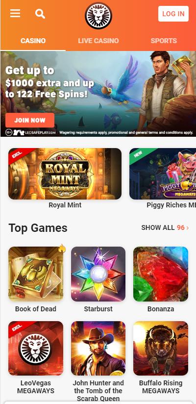 LeoVegas casino review - mobile