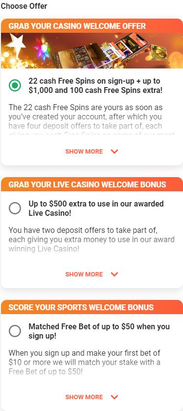 Registration bonuses LeoVegas casino