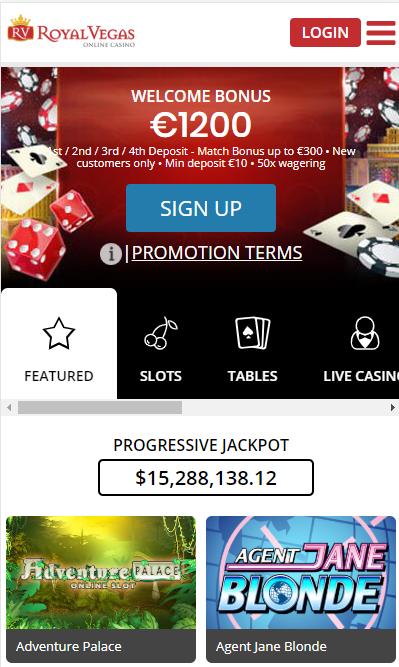 Royal Vegas casino on mobile