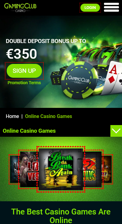 Gaming Club casino review - mobile