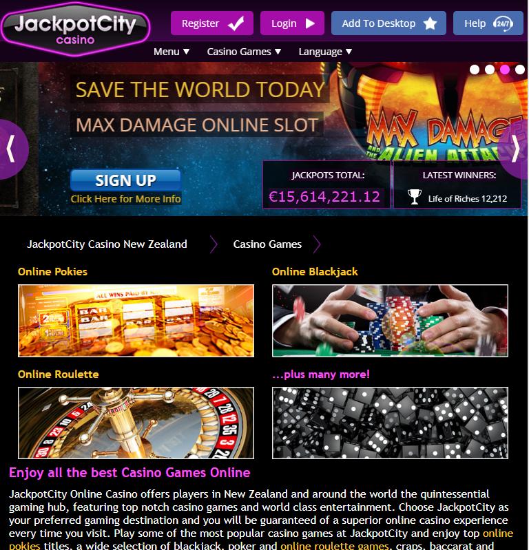 JackpotCity mobile casino page