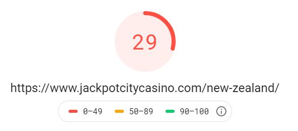JackpotCity mobile page speed