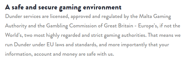 Dunder casino regulations and security