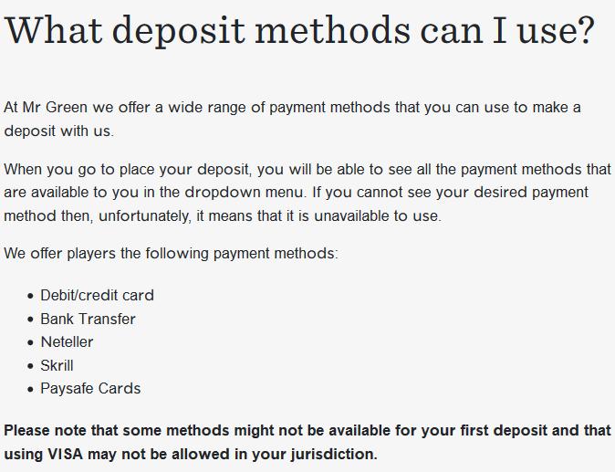 Mr Green deposit options