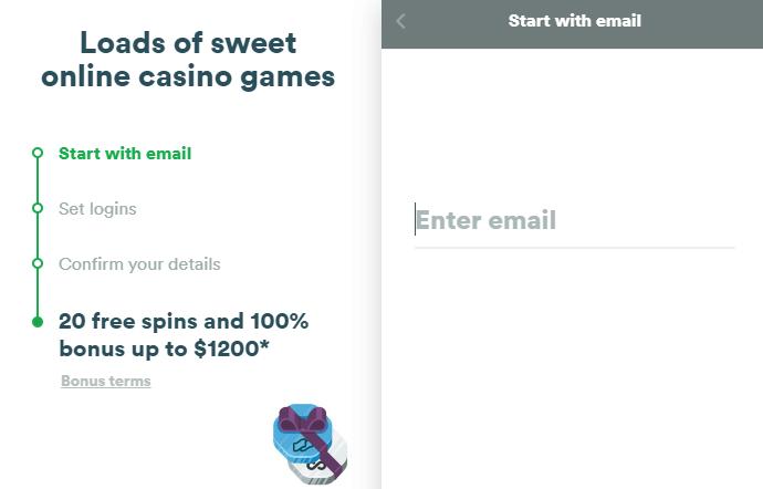 casumo's registration form