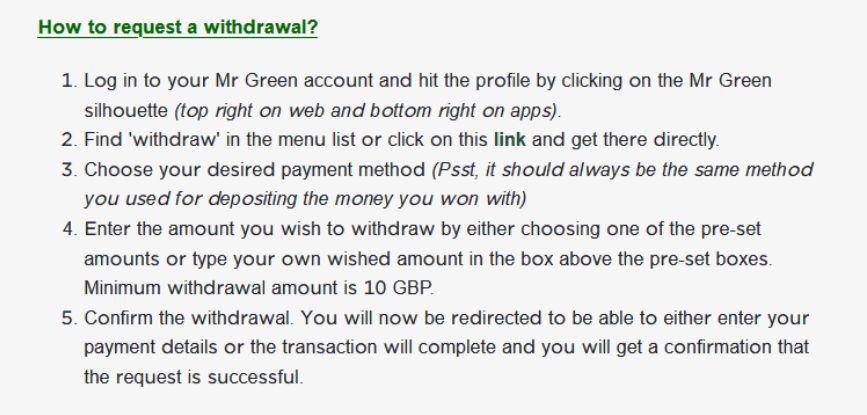 real money casinos withdrawal process