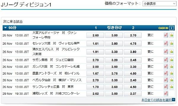 日本のJリーグの試合もベット出来ます