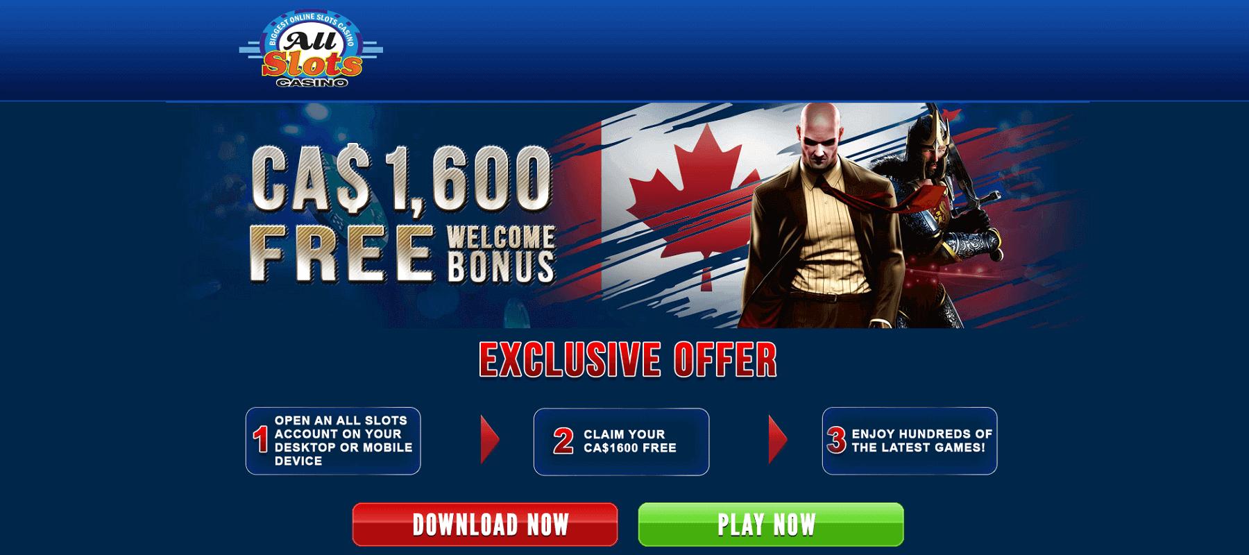 All Slots CA$1,600 Welcome Bonus Screenshot