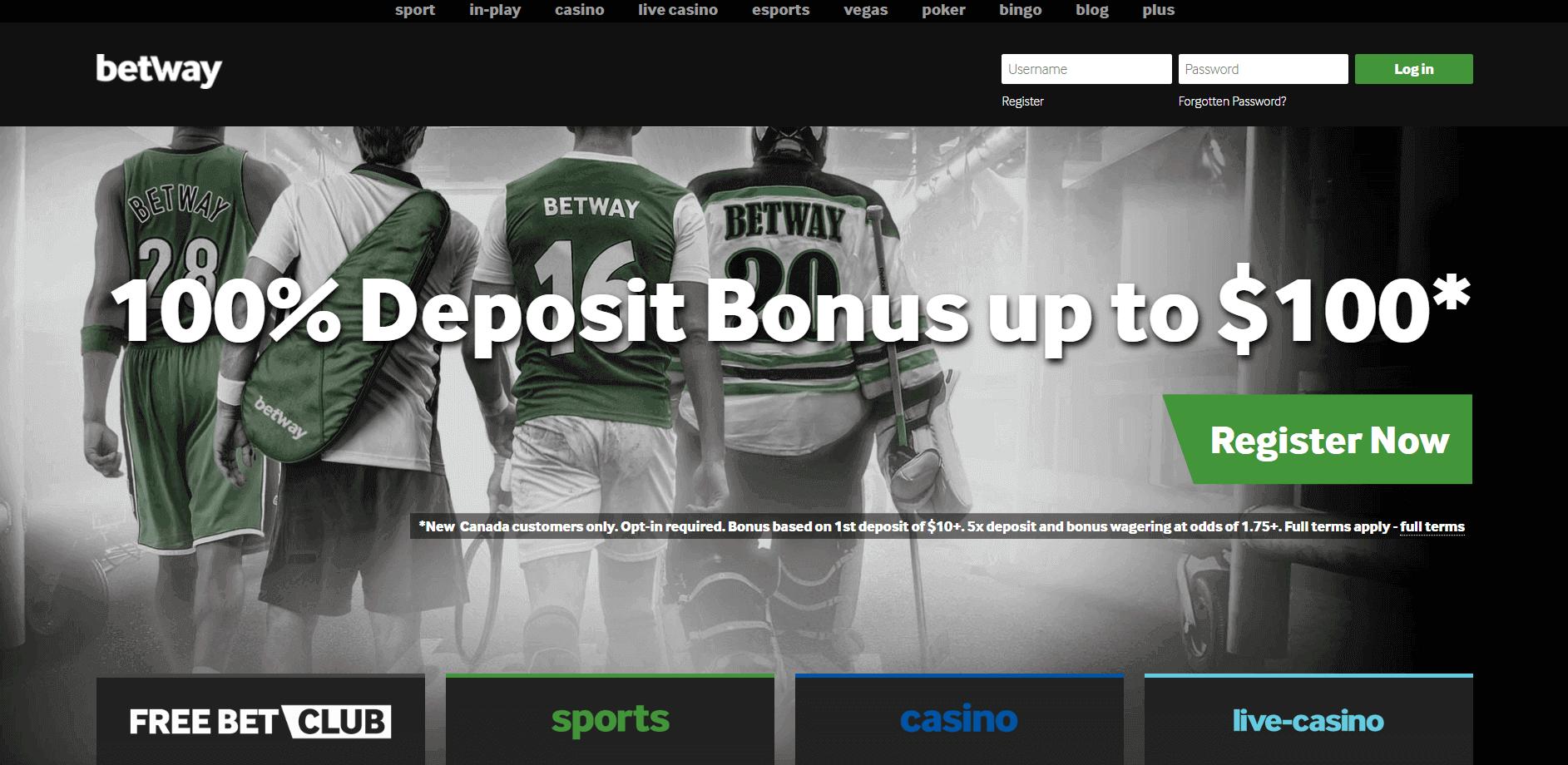 Betway Online Casino and Sportsbook screenshot with $100 Bonus Offer