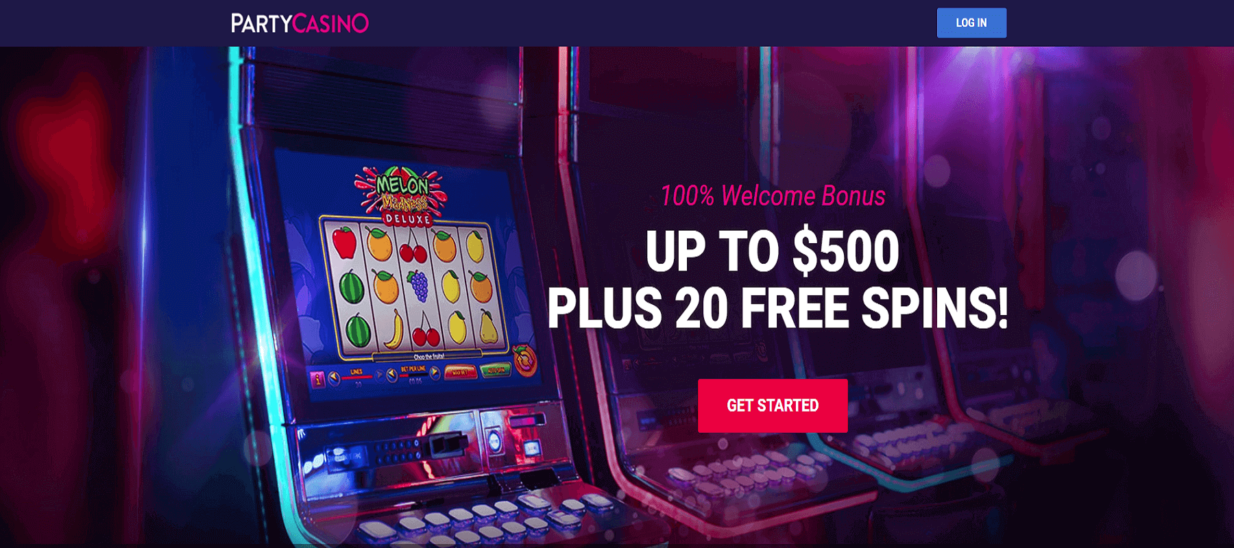 Party Casino 100% up to $500 + 20 Free Spins Welcome Bonus Screenshot