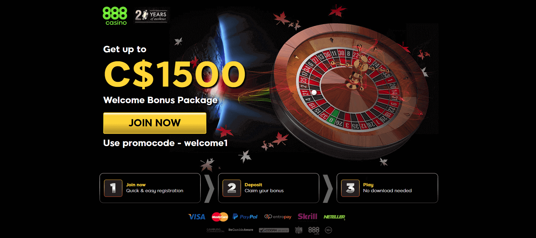 Screenshot of 888 casino C$1500 Welcome Bonus Promo
