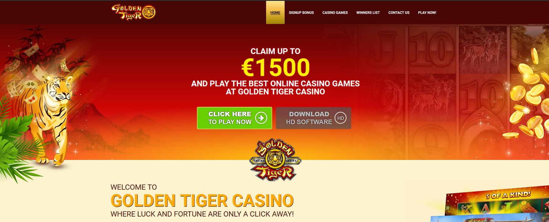 Golden Tiger CA$1500 + 1 Hour of Free Spins Bonus Offer